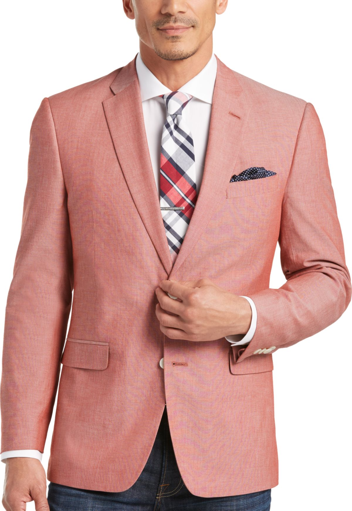 Tommy Hilfiger Red Chambray Slim Fit Sport Coat - Men's Blazers ...