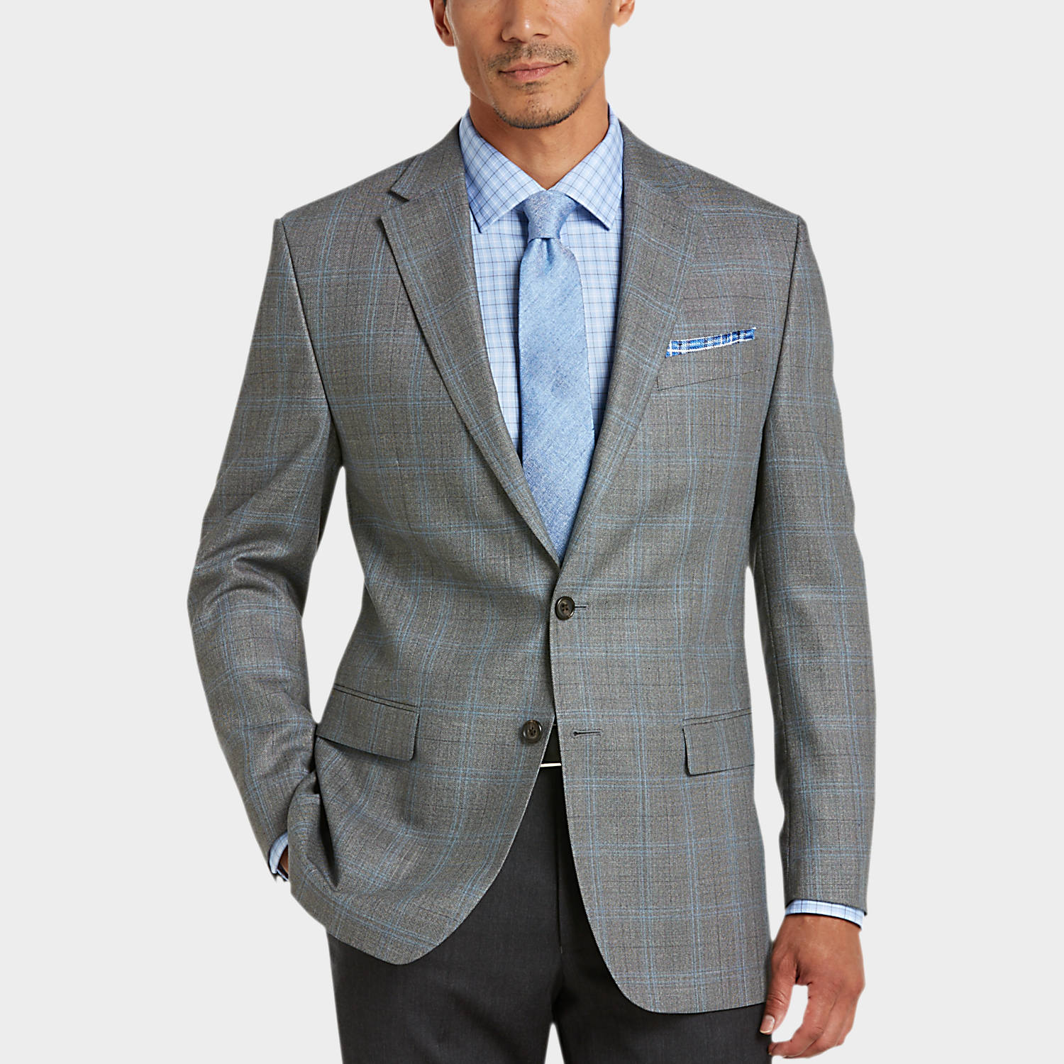 Gray Plaid Classic Fit Sport Coat - Men's Sport Coats - Lauren by ...