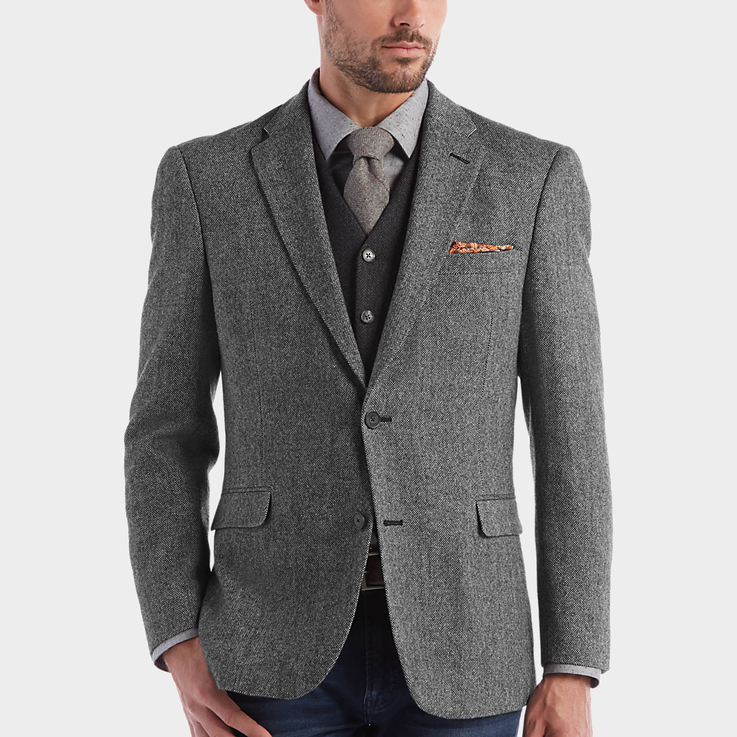 Tommy Hilfiger Black & White Tweed Slim Fit Sport Coat - Men's ...