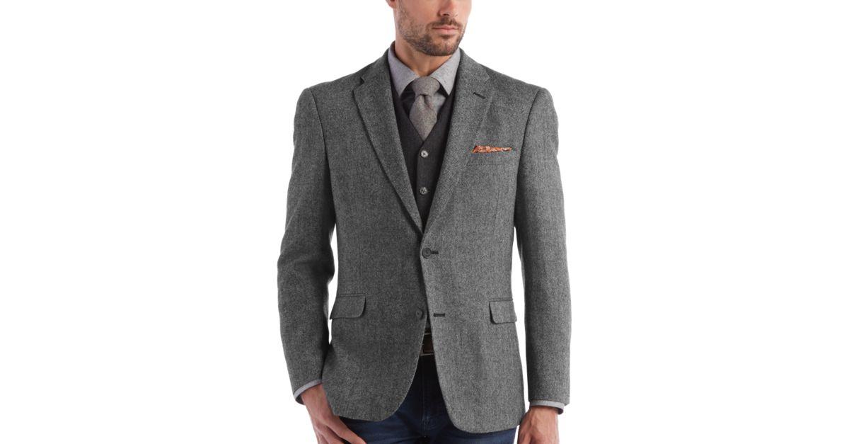 Tommy Hilfiger Black & White Tweed Slim Fit Sport Coat - Men's ...