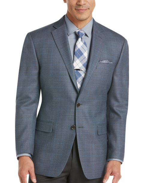 Lauren by Ralph Lauren Blue Windowpane Sport Coat - Men's Sport ...
