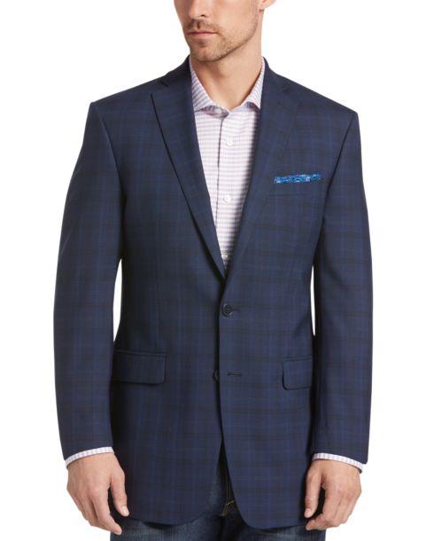 Calvin Klein Navy Plaid Extreme Slim Fit Sport Coat - Men's ...