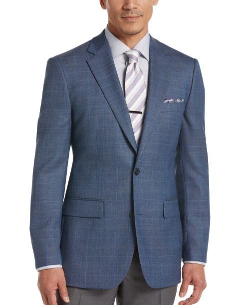 Joseph & Feiss Gold Blue Plaid Classic Fit Sport Coat - Men's ...