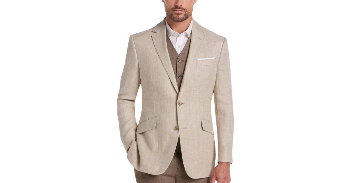 Joseph Abboud Tan Herringbone Modern Fit Linen Sport Coat - Men's ...