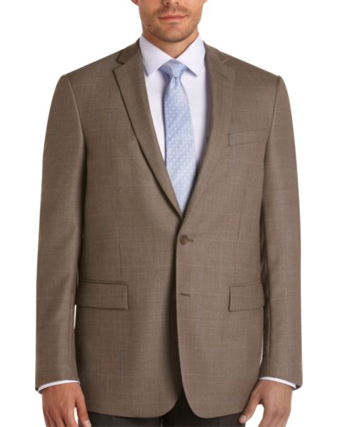 Pronto Uomo Platinum Portly Sport Coat, Taupe Tic Windowpane ...