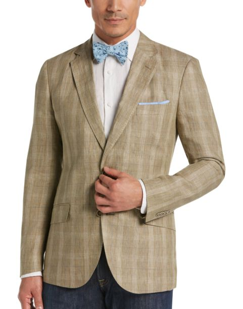 Tailorbyrd Tan Plaid Slim Fit Linen Sport Coat - Men's Sport Coats ...