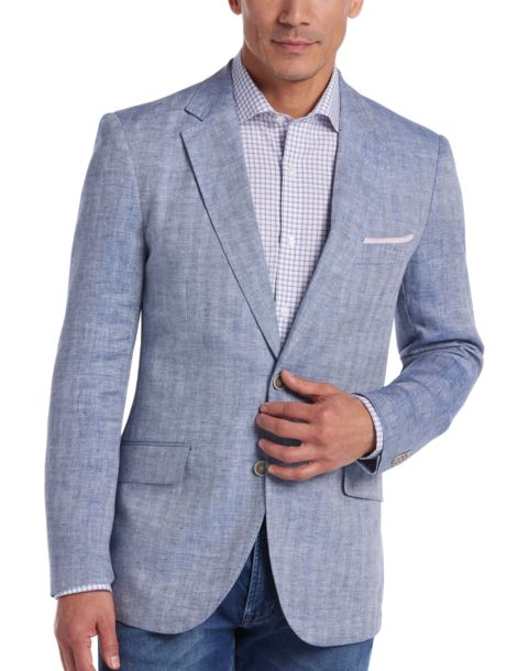 Tailorbyrd Light Blue Herringbone Slim Fit Linen Sport Coat ...