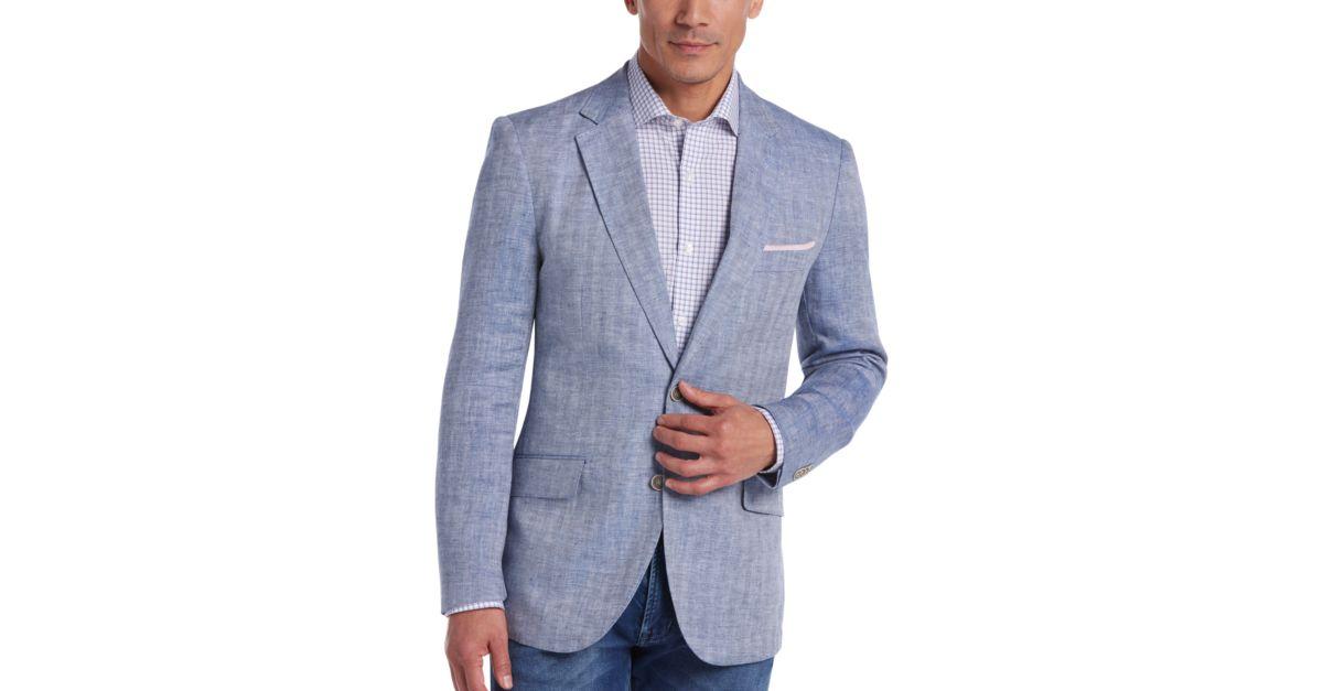 Tailorbyrd Light Blue Herringbone Slim Fit Linen Sport Coat ...