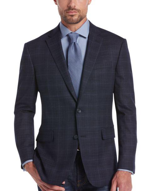 Awearness Kenneth Cole Navy Plaid Slim Fit Sport Coat - Men's ...