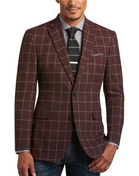 Tommy Hilfiger Burgundy Windowpane Slim Fit Sport Coat - Men's ...