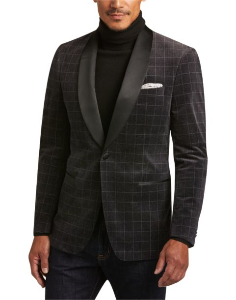 Joseph Abboud Charcoal Plaid Slim Fit Velvet Sport Jacket - Men's ...