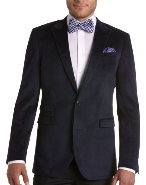 Alta Moda Navy Velvet Slim Fit Sport Coat - Men's Slim Fit | Men's ...