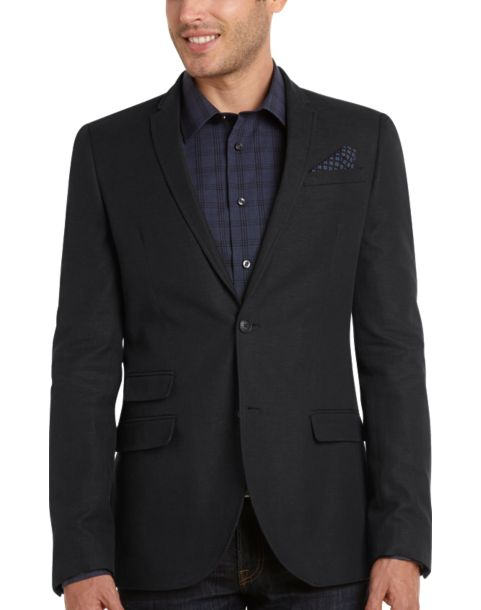 Egara Dark Navy Linen-Blend Slim Fit Blazer - Men's Blazers ...
