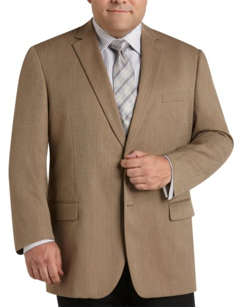 Pronto Uomo Couture Taupe Herringbone Portly Sport Coat - Men's ...
