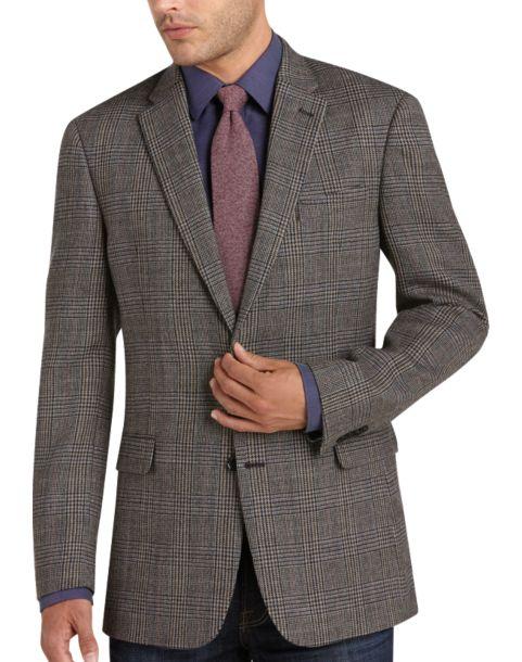 Tommy Hilfiger Gray Plaid Slim Fit Sport Coat - Men's Sport Coats ...