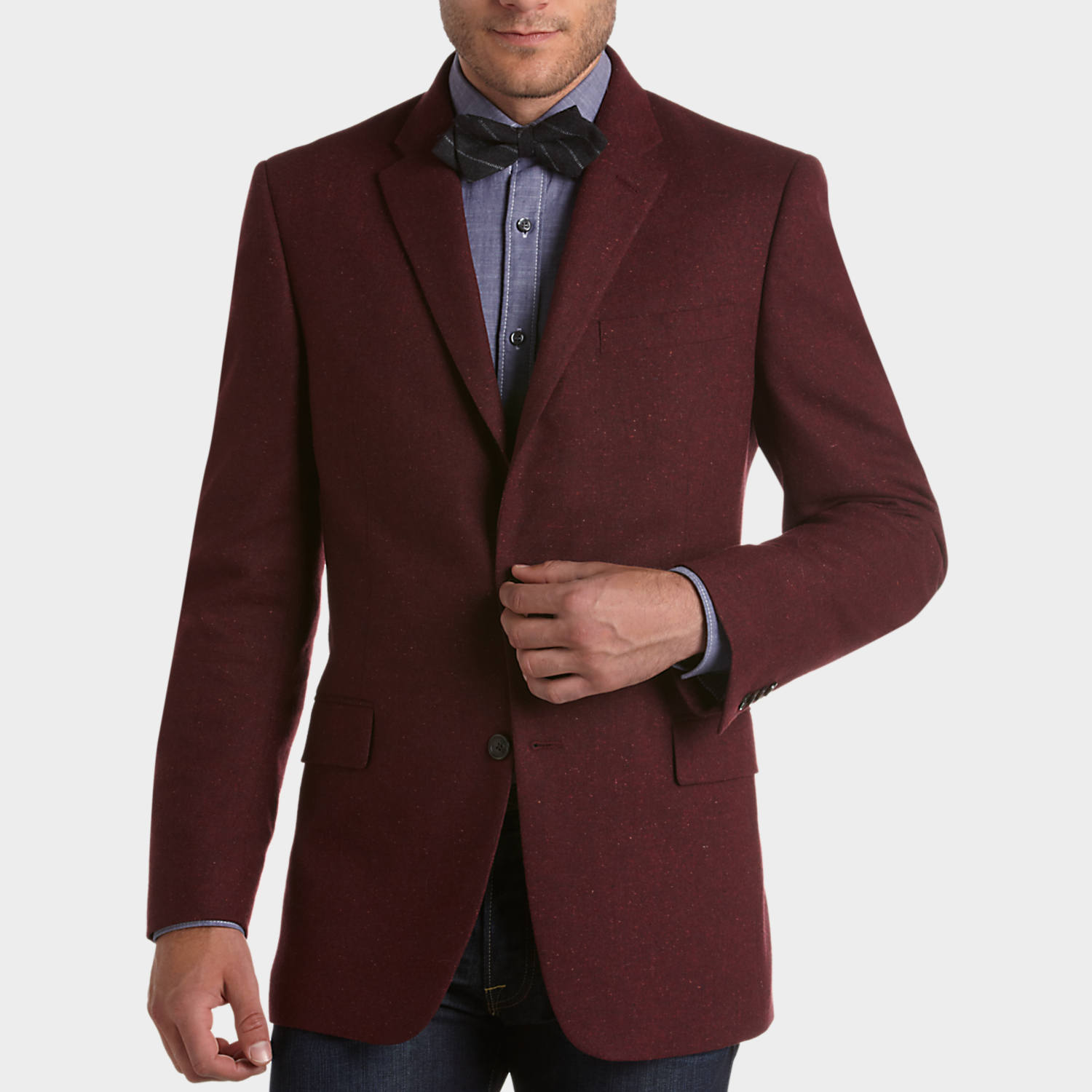 Tommy Hilfiger Red Tweed Slim Fit Sport Coat - Men's Slim Fit ...