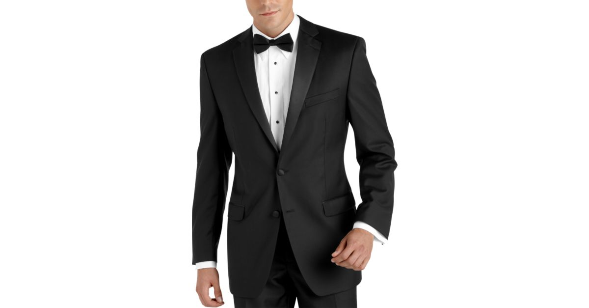 100 wool black slim fit tuxedo men 39 s tuxedos calvin for The tuxedo house