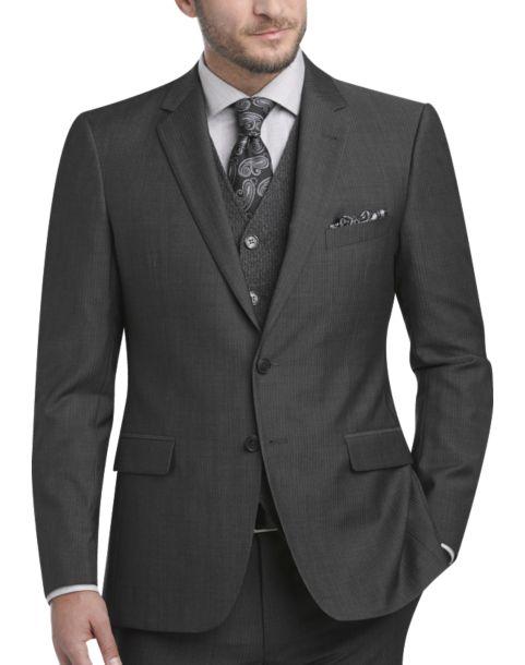Joseph Abboud Gray Herringbone Stripe Extreme Slim Fit Suit ...
