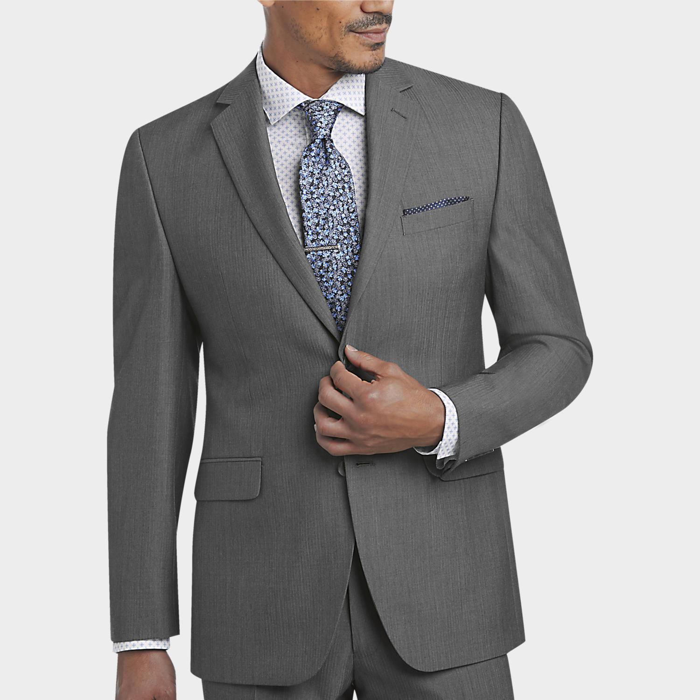 Perry Ellis Portfolio Gray Herringbone Slim Fit Suit - Men's Slim ...