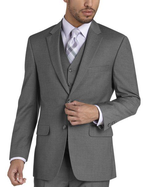 Pronto Uomo Gray Modern Fit Vested Suit - Men's Modern Fit | Men's ...