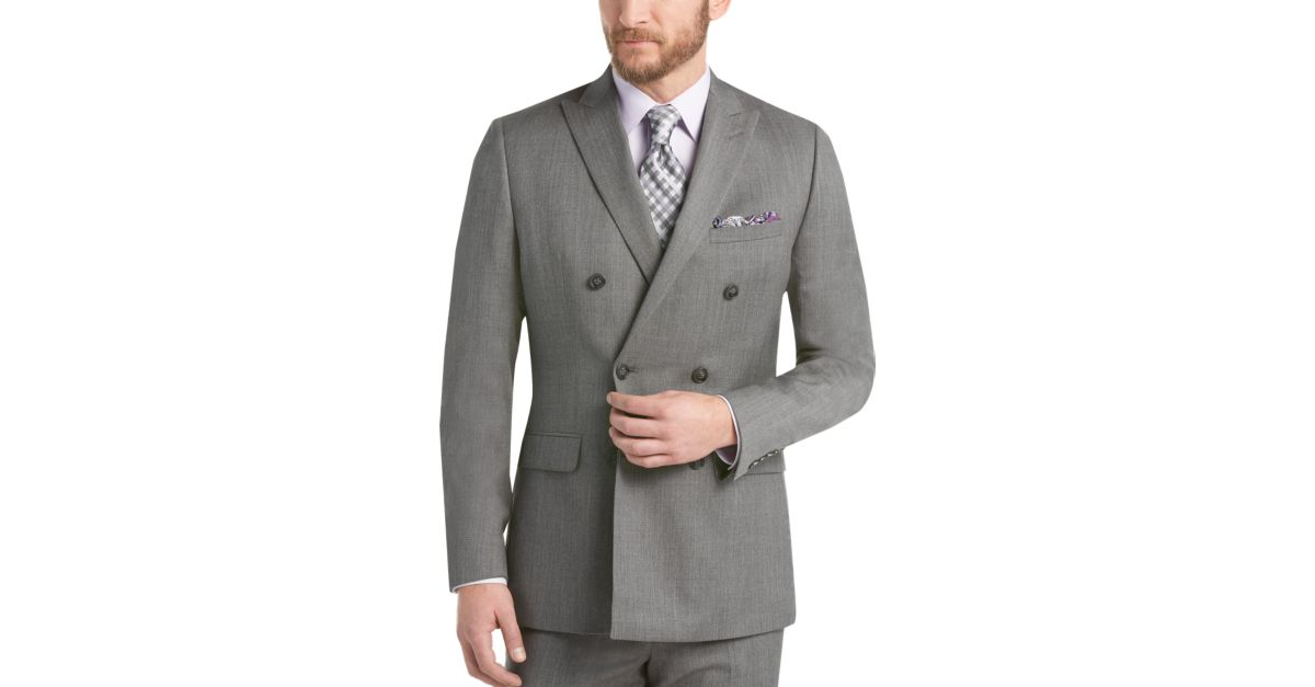 Calvin Klein Gray Double Breasted Extreme Slim Fit Suit - Men's ...