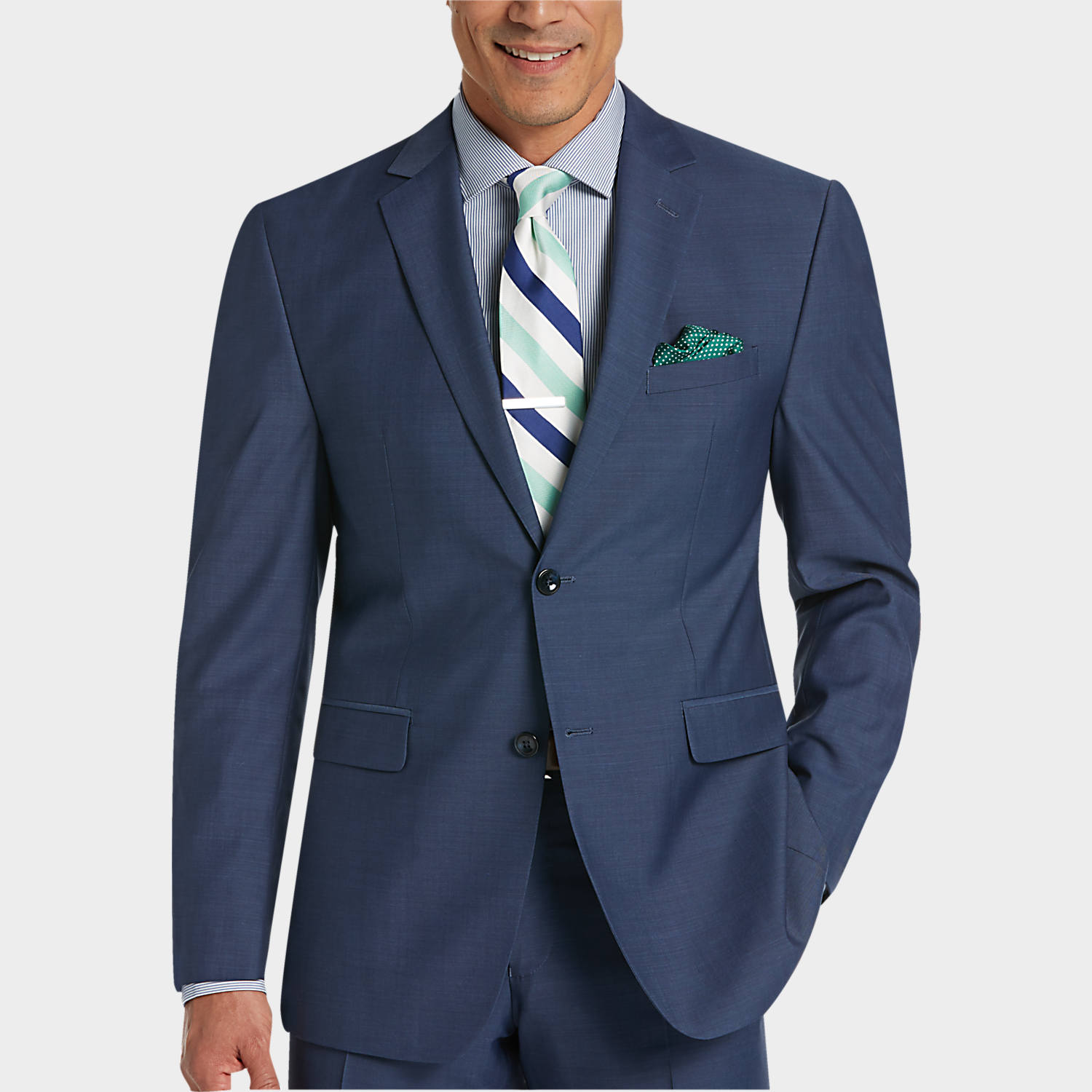 Perry Ellis Portfolio Blue Slim Fit Suit - Men's Slim Fit | Men's ...