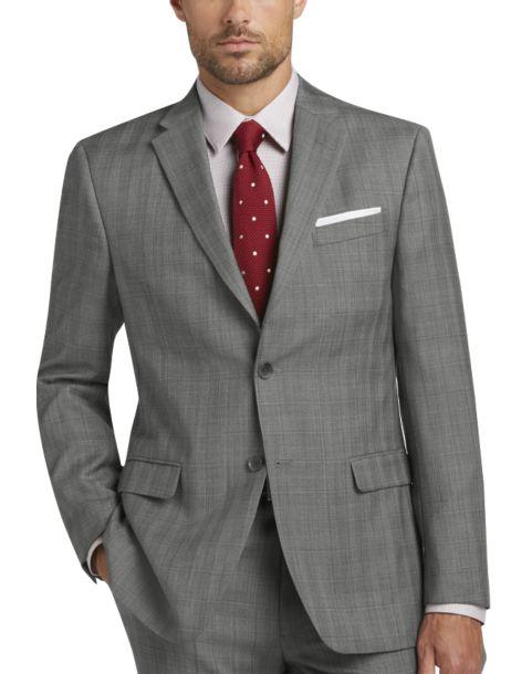 Tommy Hilfiger Gray Plaid Slim Fit Suit - Men's Slim Fit | Men's ...