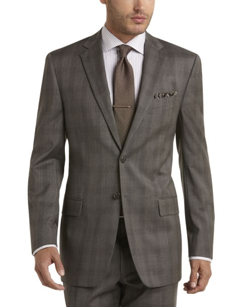 Joseph Abboud Olive Plaid Modern Fit Suit - Men's Modern Fit ...