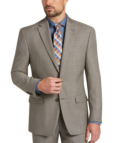 Perry Ellis Premium Taupe Windowpane Slim Fit Suit REG $ $ This trim and stylish suit from Perry Ellis Premium has a subtle windowpane pattern and a modern silhouette in a performance wool-blend fabric.