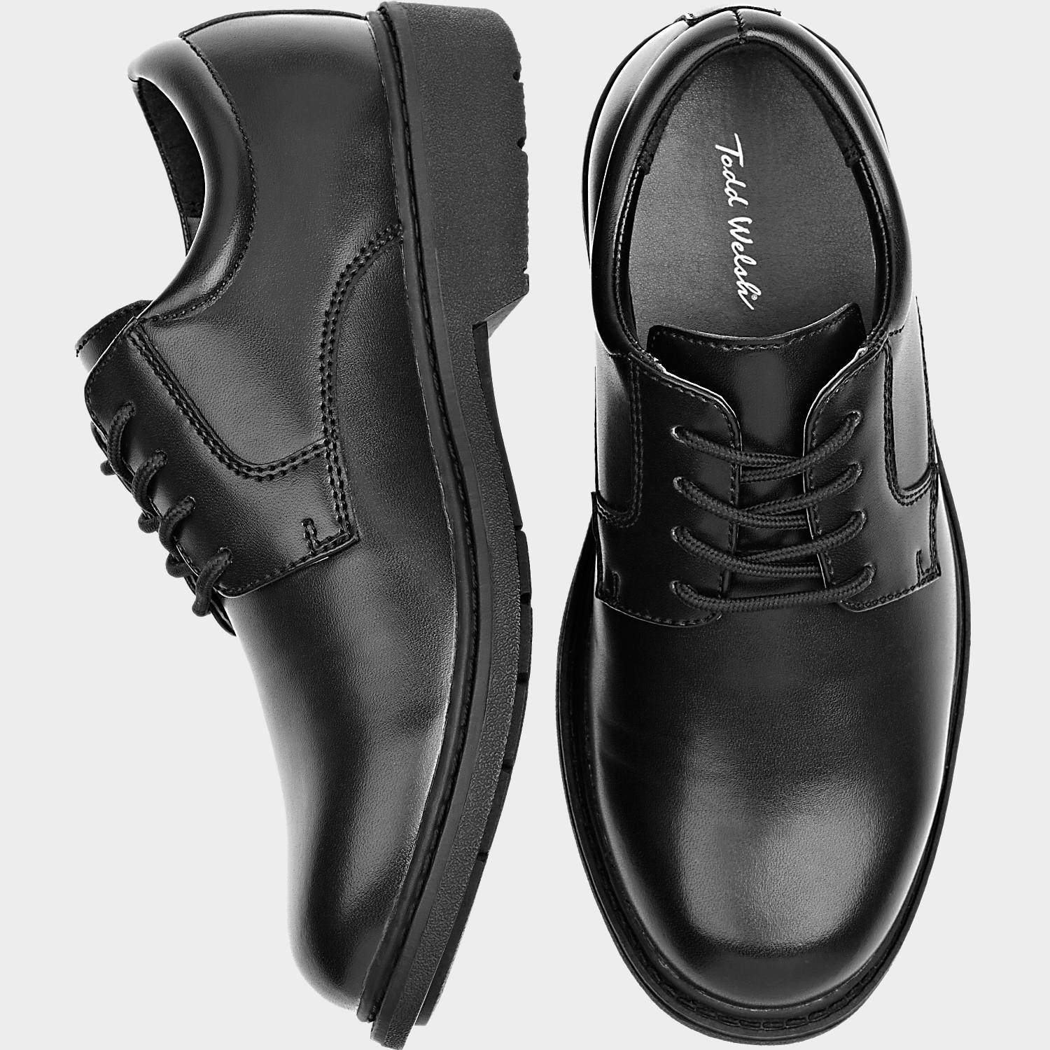 Todd Welsh Boys Black Oxford Lace-Up Shoes - Men's Boys' Shoes ...