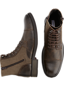Joseph Abboud Marlon Brown Leather and Canvas Lace Up Boots
