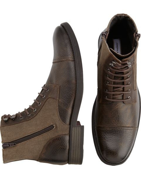 Joseph Abboud Marlon Brown Leather and Canvas Lace Up Boots ...