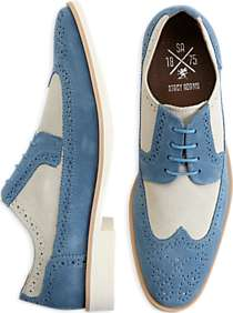 Stacy Adams Parker Sky Blue and Bone White Suede Wingtips