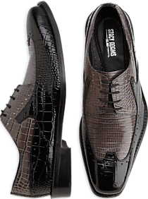 Stacy Adams Portello Black and Gray Lace-Up Wingtips