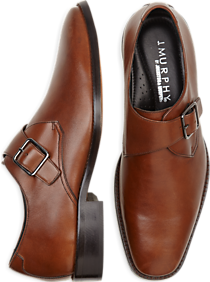 Johnston & Murphy Novick Tan Monk Strap Shoes