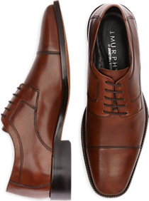 J. Murphy by Johnston & Murphy Novick Brown Cap Toe Lace Up Shoes