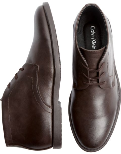 Calvin Klein Brown Leather Ankle Boots - Men's Boots | Men's Wearhouse