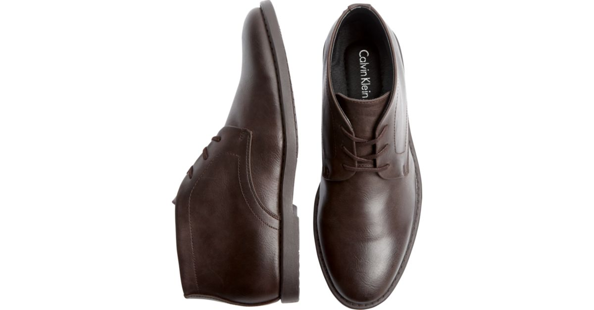 Calvin Klein Brown Leather Ankle Boots - Men\'s Boots   Men\'s Wearhouse