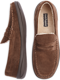Hush Puppies Brown Suede Penny Loafer Slippers