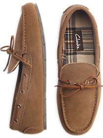 Clarks Light Suede Moccasin Slippers (Brown)