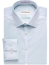 Jhane Barnes Blue Diagonal Texture Slim Fit Non-Iron Dress Shirt