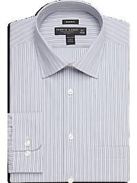 100% Egyptian Cotton Gray Stripe Modern Fit Non-Iron Dress Shirt