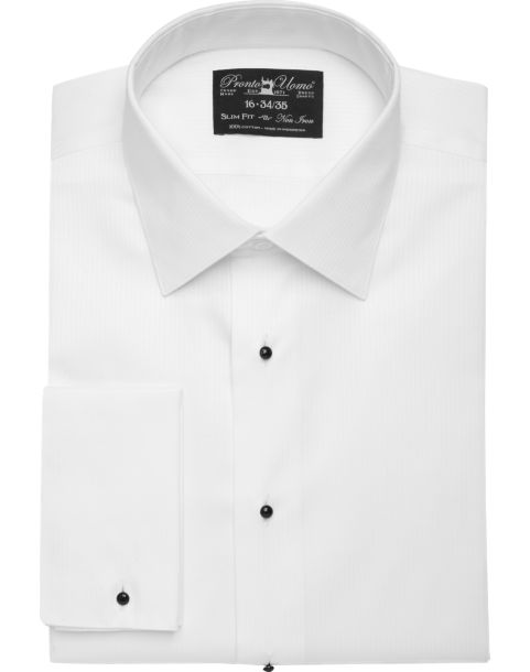 Pronto uomo white slim fit tuxedo shirt men 39 s french White french cuff shirt slim fit