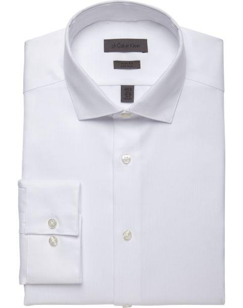 Calvin Klein White Corded Slim Fit Non-Iron Dress Shirt - Men's ...
