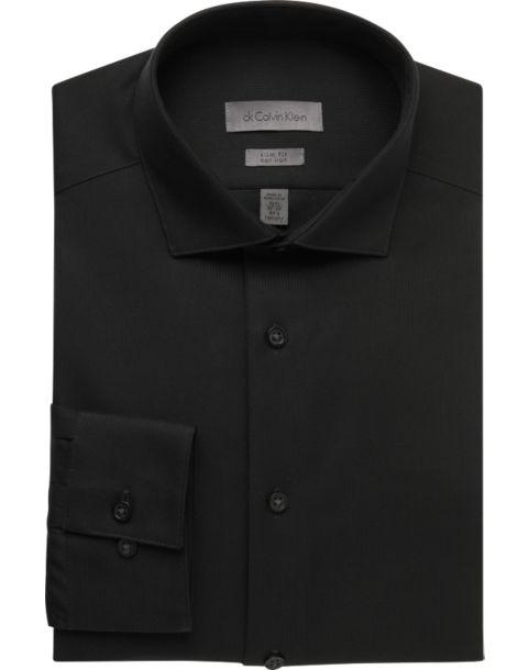 Calvin Klein Black Slim Fit Non-Iron Dress Shirt - Men's Slim Fit ...
