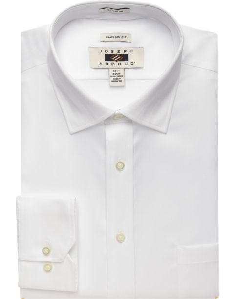 Joseph Abboud White Classic Fit Non-Iron Dress Shirt - Men's ...