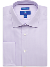 Egara Lavender and White Stripe French Cuff Modern Fit Non-Iron Dress Shirt