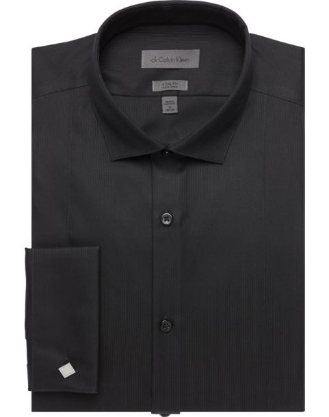 Calvin Klein Black Slim Fit Tuxedo Shirt - Men's Slim Fit | Men's ...