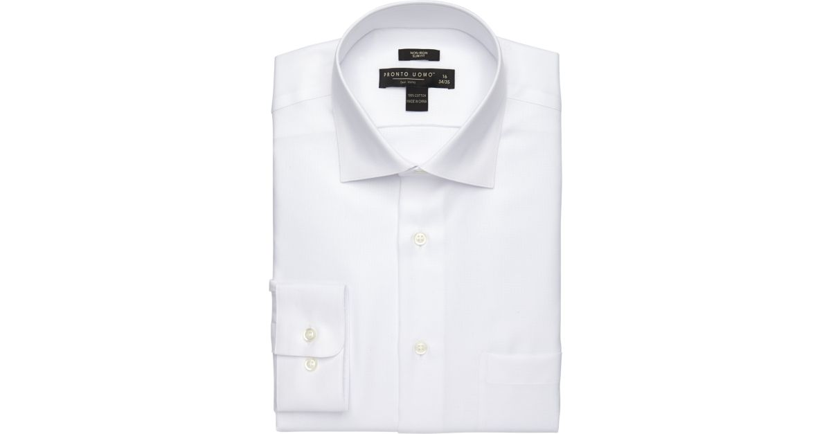 Pronto Uomo White Queen's Oxford Slim Fit Dress Shirt - Men's Slim ...