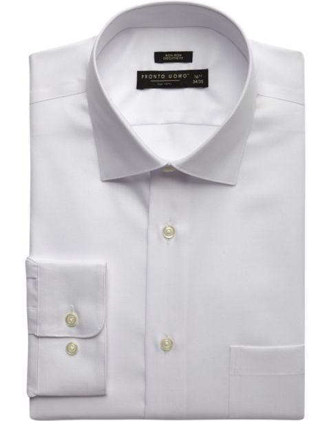 Pronto uomo white executive fit non iron dress shirt men for White non iron dress shirts